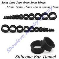 Showlove 12 paare/los Mix Größe Silikon Ear Plugs Tunnel Flesh Piercing Hohl Lehrdorn Kit Körper Schmuck
