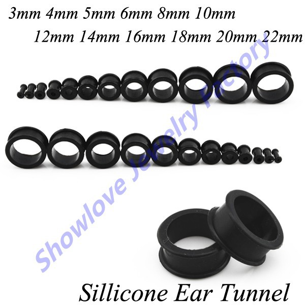 Showlove 12pairs/lot Mix Size Silicone Ear Tunnel Plugs Flesh Piercing Hollow Plug Gauge Kit Body Jewelry