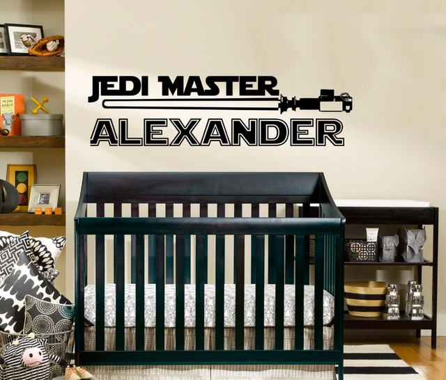 US $5 98 25% OFF Star Wars Name Decal Quote Jedi Knight Vinyl Wall Decals  Sticker Custom Personalized Name Decor Kids Boys Room Nursery Art A547-in