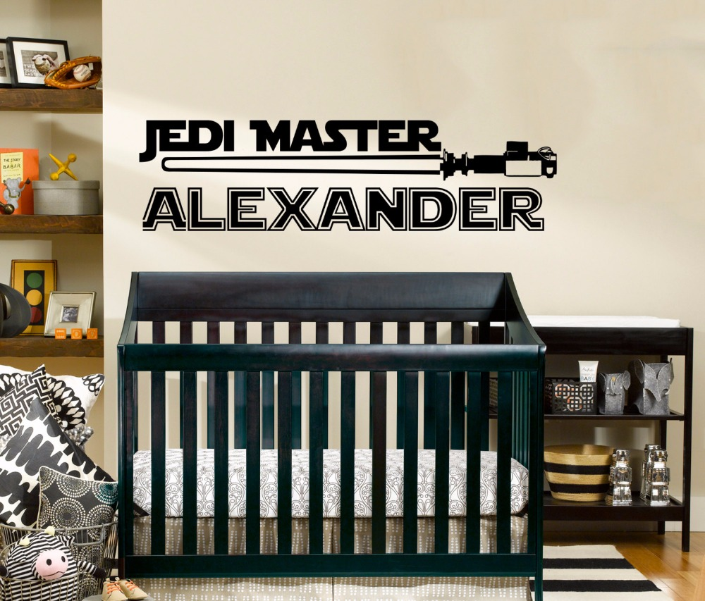 star wars name decal quote jedi knight vinyl wall decals sticker custom name decor kids