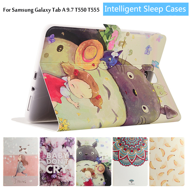 Fashion painted Pu leather stand holder Cover Case For Samsung Galaxy Tab A T550 T555 P550 P555 9.7 inch Tablet + Film +Stylus case for samsung galaxy tab a 9 7 t550 inch sm t555 tablet pu leather stand flip sm t550 p550 protective skin cover stylus pen