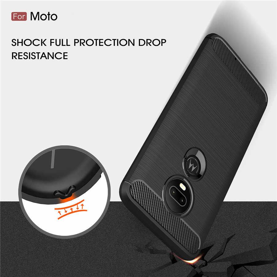 Chống Sốc Ốp Lưng Điện Thoại Motorola G5 Trường Hợp Bao MOTO G5s Plus E5 G7 G4 Plus G6 Chơi Sợi Carbon TPU ốp Lưng Điện Thoại Ốp Lưng