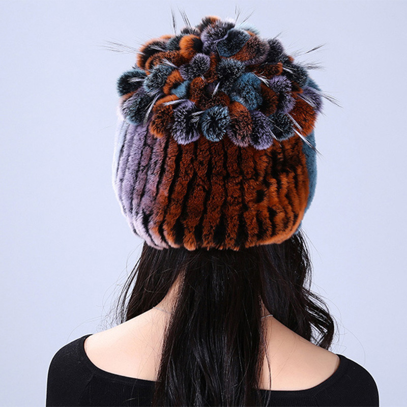 Winter hat 2016 Fashion  Real Rex Rabbit fur Winter Flower on Ball Warm Black Women's Lady Genuine Rabbit Cap