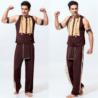 Free Shipping Hot Selling India Sexy Costume Men Sexy Indian Fancy Cosplay Deluxe Costume Halloween Indian