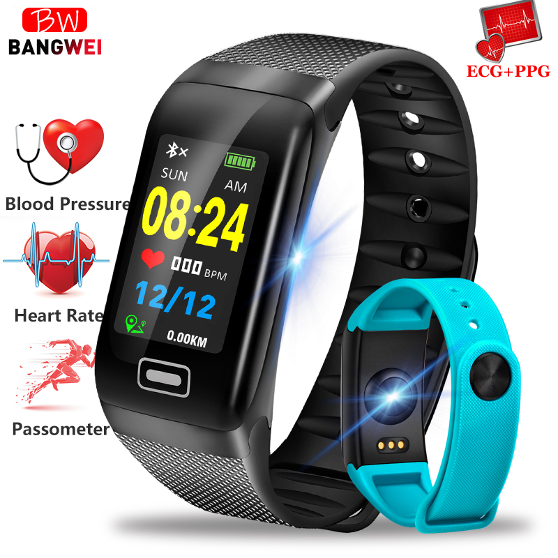 BANGWEI Smart Watch Men's Sports Tracker Pedometer Heart Rate Blood Pressure Monitor IP67 Waterproof Bluetooth Smart Watches