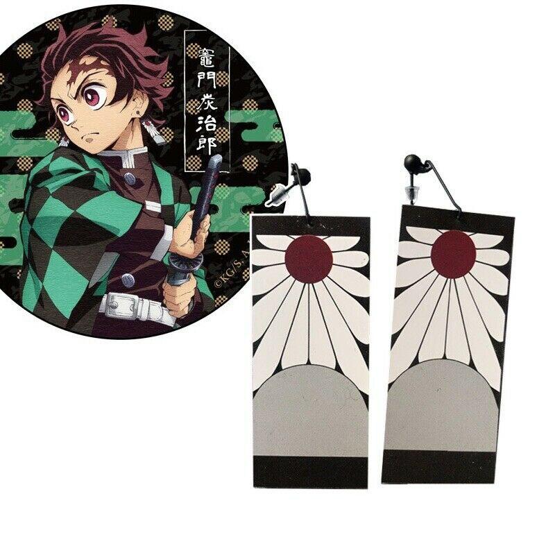 1 par demônio slayer kimetsu não yaiba anime brincos kamado tanjirou japonês cosplay adereços orelha do parafuso prisioneiro eardrops