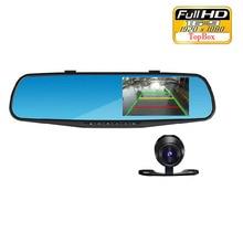 4.3 pouce IPS Écran Voiture Rétroviseur Full HD 1080 P voiture Caméra Parking Nuit Vision Voiture DVR Double Objectif Vidéo enregistreur