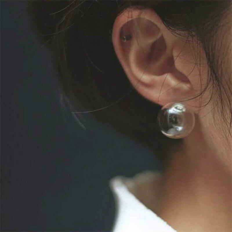 Korean fashion simple and elegant glass transparent foam handmade funny personality original soft nail earrings ladies