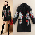 Women Coat 2015 Winter High Quality Single Breasted Slim Embroidery Wool Black Long Jacket And Coats New Fashion