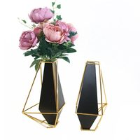 American Metal Plating Vase Black Vase Hotel Club Living Room Decoration Window Sill Dining Table Wrought Iron Nordic Vase