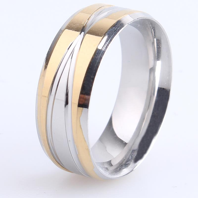 free shipping 8mm gold silver cross stripes 316L Stainless Steel finger rings for women men wholesale