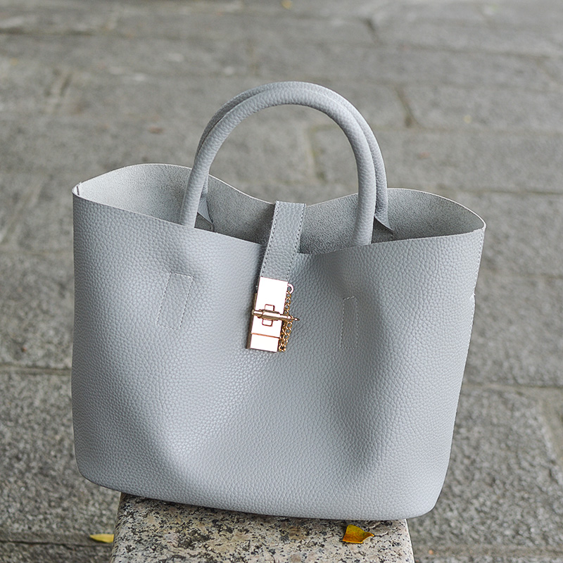 Beaocly Big Size Women Handbag Pu Leather Solid Tote Women Shoulder Bag Ladies Fashion Women Messenger Bucket Bag Composite Bag ladylike women s tote bag with solid color and daisy embossing design
