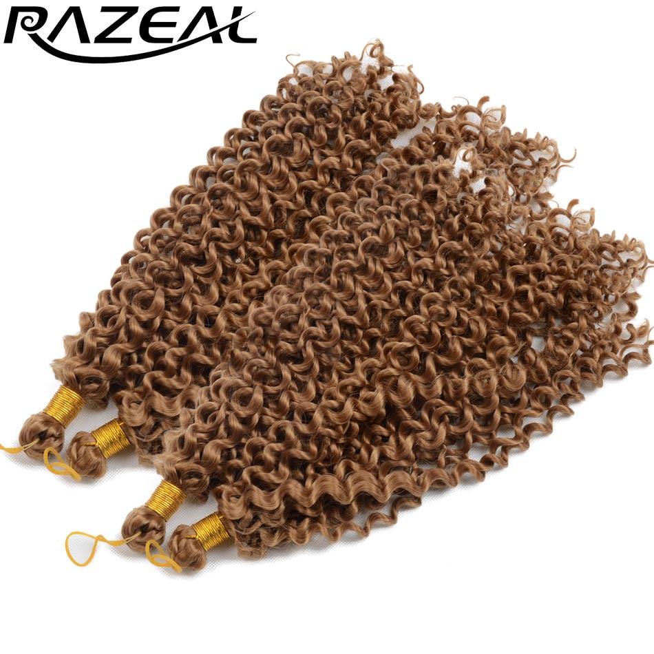 """Razeal 14 """"4pcs სუფთა ფერის curly crochet braids სინთეზური braiding თმის გაფართოება მაღალი ტემპერატურა ბოჭკოვანი"""