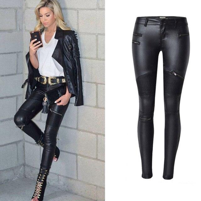 High Waist Jeans Women 2018 Autumn Black Leather Skinny Jeans Woman Zipe Locomotive Women's Pencil Jeans Pants Plus Size