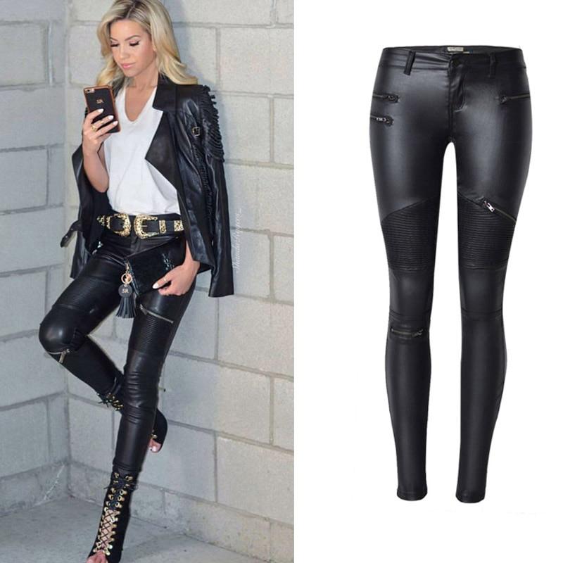 High Waist Jeans Women 2019 Spring Black Leather Skinny Jeans Woman Zipe Locomotive Women's Pencil Jeans Pants Plus Size