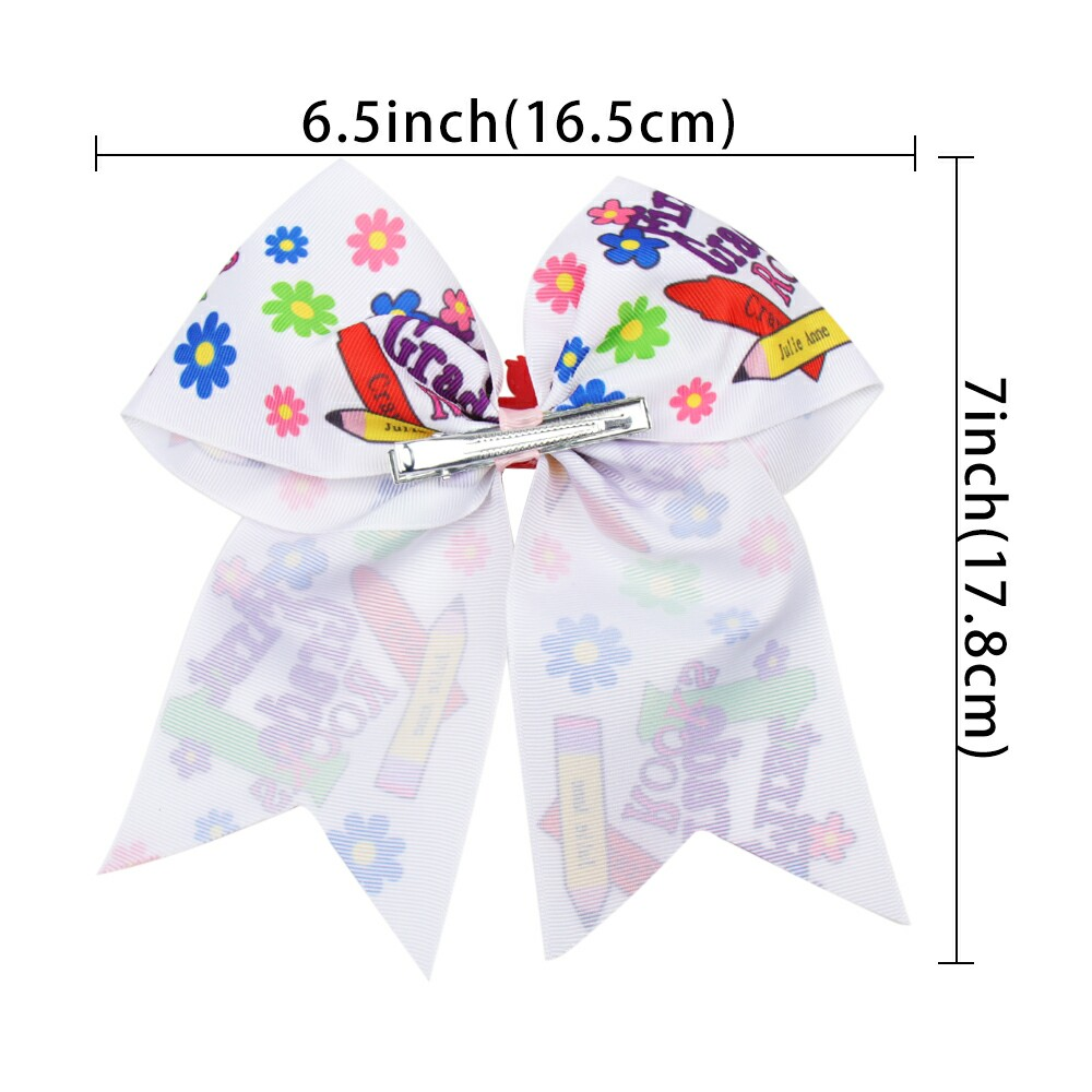 AHB BACK TO SCHOOL Pencil Print Hair Bows for Girls Hair Clips Lovely Hairpins Cartoon Resin Cars Students Headwear Cheer Bows in Hair Accessories from Mother Kids