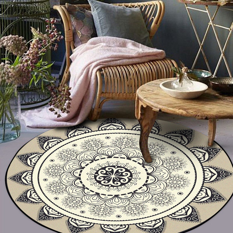 Fashion Simple Round Carpets Nordic Abstract Geometric Flower Gray Black Area Rug Bedroom Parlor Carpet Basket Swivel Chair Mat