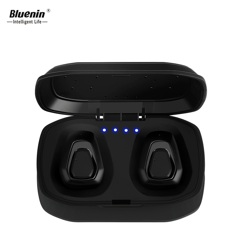 Bluenin TWS In-Ear Wireless Earphones True Mini Bluetooth Headset Invisible Music Earbud With Microphone for xiomi redmi 5 plus hoco invisible earpiece music earphone bluetooth in ear handsfree mini wireless earphones with microphone for xiaomi iphone