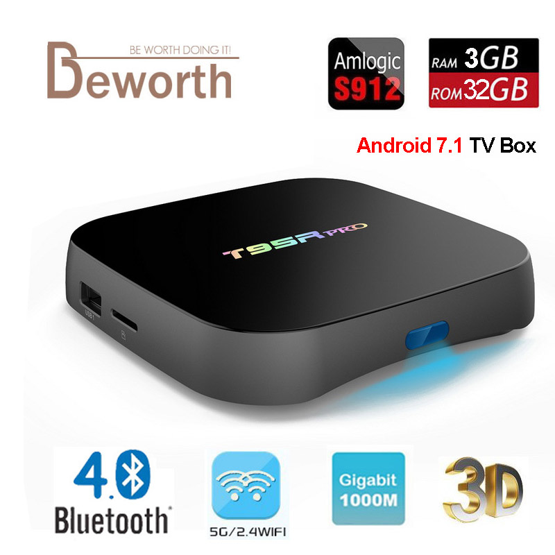 T95R PRO Amlogic S912 Octa Core Android 7.1 TV BOX 3GB 32GB 2.4/5GHz Dual WiFi KODI Fully Load Bluetooth 4.0 4K H.265 Smart TV zidoo x6 pro hd 4k 2k h 265 smart android tv box rk3368 bluetooth xbmc kodi 2g 16g 3d octa core 1000m lan dual wifi