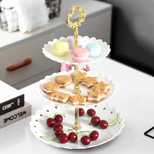 Cake Dessert Rack Plates Explosion Style European Wedding Party Multi Layer Plastic Three-tier Fruit Tray Snack Candy Tray