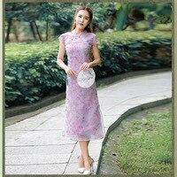 Retro Chinese Style Women S Summer Slim Dress Mandarin Collar Short Sleeved Ou Gen Mesh Fashion