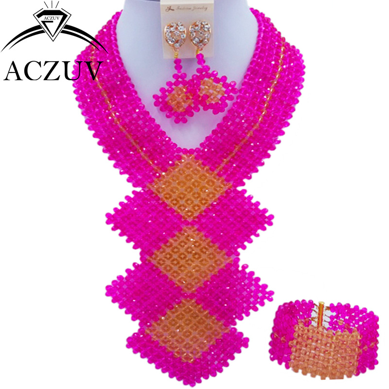 ACZUV Fashion Fuchsia Hot Pink and Gold African Beads Jewelry Set for Women Nigerian Wedding Necklace and Earrings CFKB003 chic rhinestone african plate shape pendant necklace and earrings for women