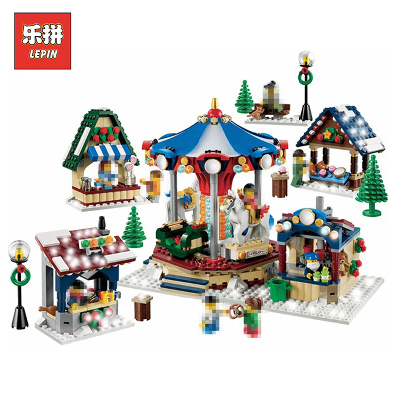 In Stock DHL Lepin Set 36010 1412Pcs Creative Winter Village Market Model Building Kits Blocks Bricks Educational Toy Gift 10235 lepin 36010 genuine creative series the winter village market set legoing 10235 building blocks bricks educational toys as gift