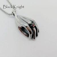 2018 S S Individual Red Stone Hand Pendant Nencklace Stainless Steel Silver Color Buddha Hand Necklace