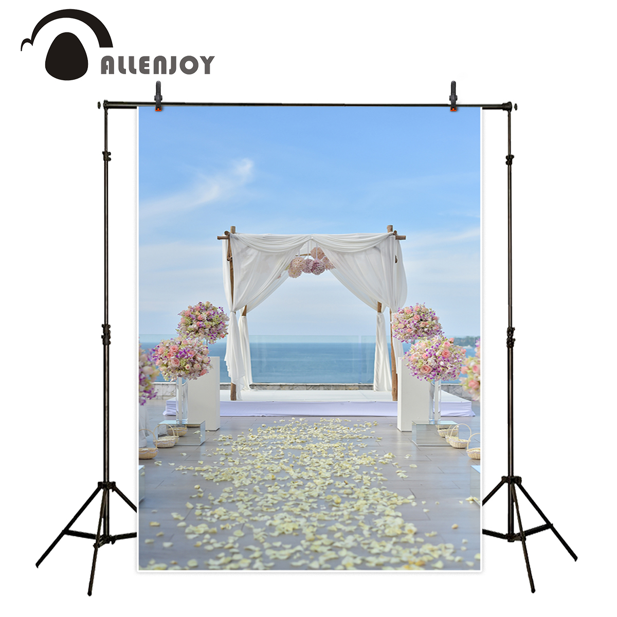 Allenjoy wedding celebration background photography romantic dreamy seaside bunched floral rose studio photographic backdrop allenjoy 10ftx6 5ft fireworks photography backdrop black night romantic wedding background for photography studio without stand