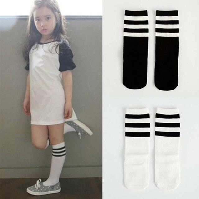 df5f1d7cf Child Boy Football Socks Striped Colored Rainbow Knee Socks Cotton School  White Long Sock for Kids