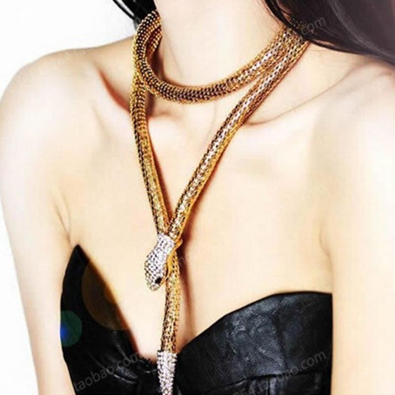 2016 moda Collier Femme joyería Rhinestone lleno Austria accesorios oro plata Crystal Snake collar largo pendiente NJ-140