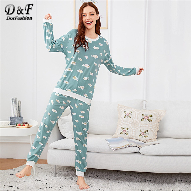 Dotfashion Green Fish Print   Pajama     Set   With Eye Mask Women Autumn Clothing 2019 Casual Long Sleeve Nightwear Cartoon   Pajama     Sets