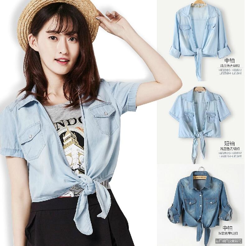 35b601bb 2015 Women Summer Style Denim Shirts Casual Tie A Knot Thin Lapel Button  Down Tops blusas Waistcoat Half/Short Sleeve Light Blue