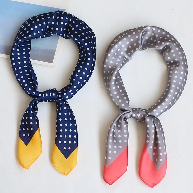 Silk   Scarf   Women 70*70cm 2018 Spring Autumn Dot Point Small Square   Scarves   Female Headband Wrist   Wrap   Square Head   Scarves     Wraps