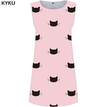 KYKU Cat Dress Women Pink Office Sundress Animal Party Ladies Dresses Pattern 3d Print Gothic Sexy Womens Clothing Summer