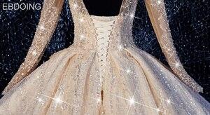 Image 5 - EBDOING Luxurious sequins Ball Gown Wedding Dress O Neckline Vestidos De Novia Plus Size Bride Dress Prom Wedding Gown