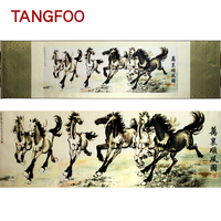 ShaoFu Chinese Silk Scroll Painting Canvas Painting Wall Art Famouse Horse Riding Print Business Gifts