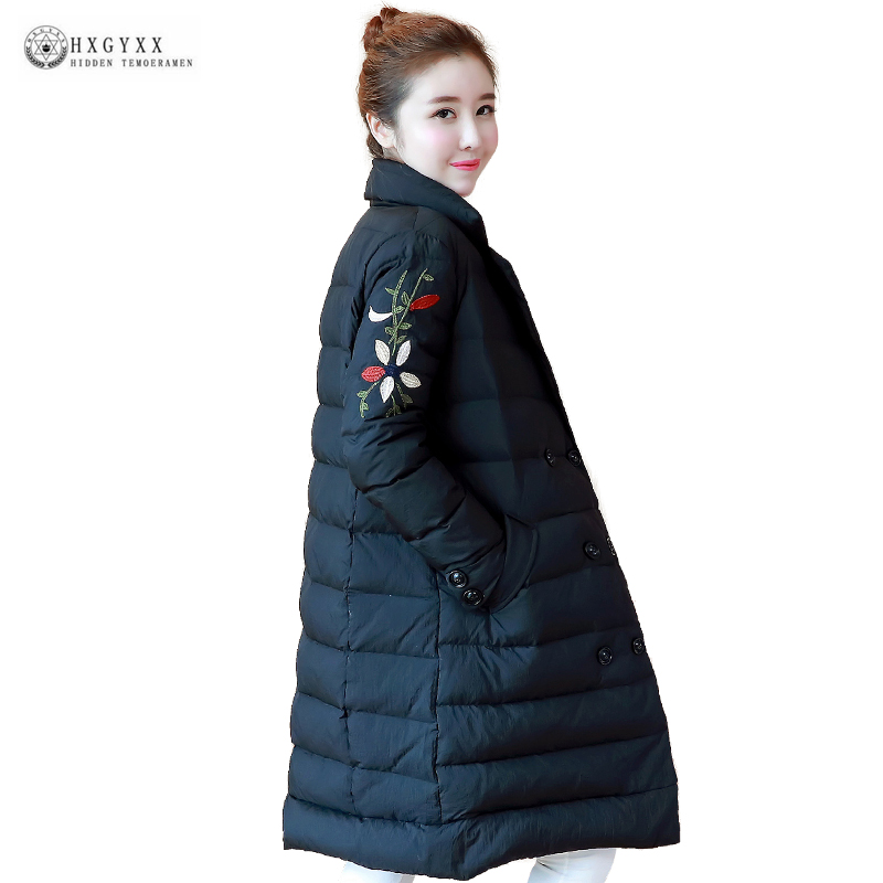 Hot Selling Long Down Coat Female 2018 Winter Outerwear Stand Collar Embroidery White Duck Down Jackets Women Slim Parka OK1222
