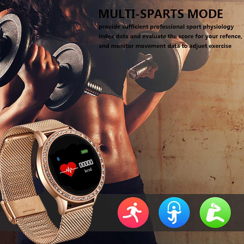 ساعة ذكية النساء للماء Smartwatch مع مراقب معدل ضربات القلب ضغط الدم سوار لياقة بدنية ل فون iOS الروبوت الساعات