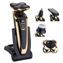 Мокрый/сухой 5D бреющая головка Для мужчин электробритва электрическая бритва Перезаряжаемые тела бритвенный станок водонепроницаемый Бритва для бороды, очистка