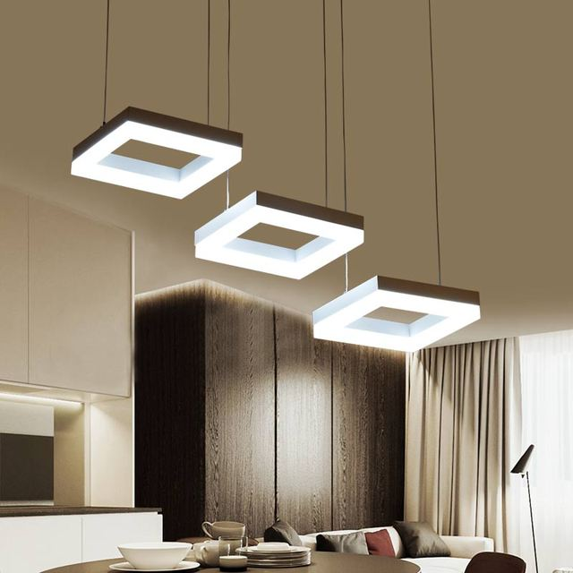 Luxury Modern chandelier LED Rectangle lights for living Dining room ...
