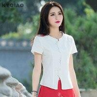 Ethnic Shirt 2017 Women Summer Boho Short Sleeve Stand Collar White Linen Blouse M L Xl