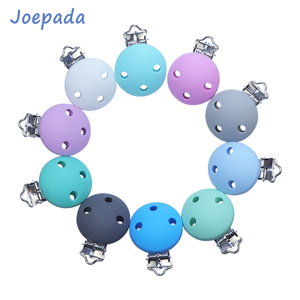 Joepada 10Pcs/lot Silicone Nipple Holder Pacifier Clips Round Shape Making Baby Teething Necklace Accessories Toy Silicone Beads