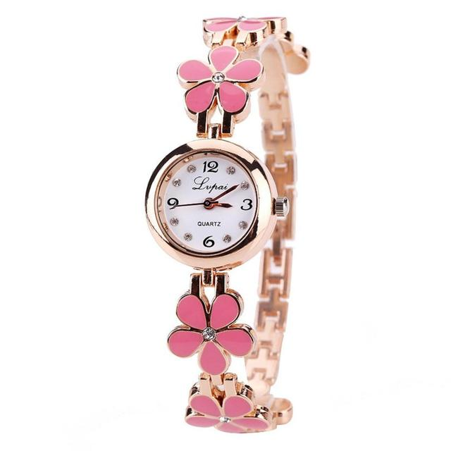 Thin strap Small and delicate Women Bracelet Watches 2018 Selling fashion Petal
