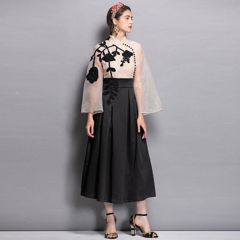 Fleur 2018 Robes Robe Patchwork Noir Midi Vintage Haute De Conception Qualité Automne Femmes Élégant Beige Et Perles Yvtn7qawx