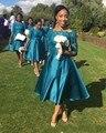 HQ Vestidos Dama de honra 2017 Barato Para Casamentos Laço de Cetim da Cerceta metade mangas tea comprimento plus size formal maid of honor vestidos