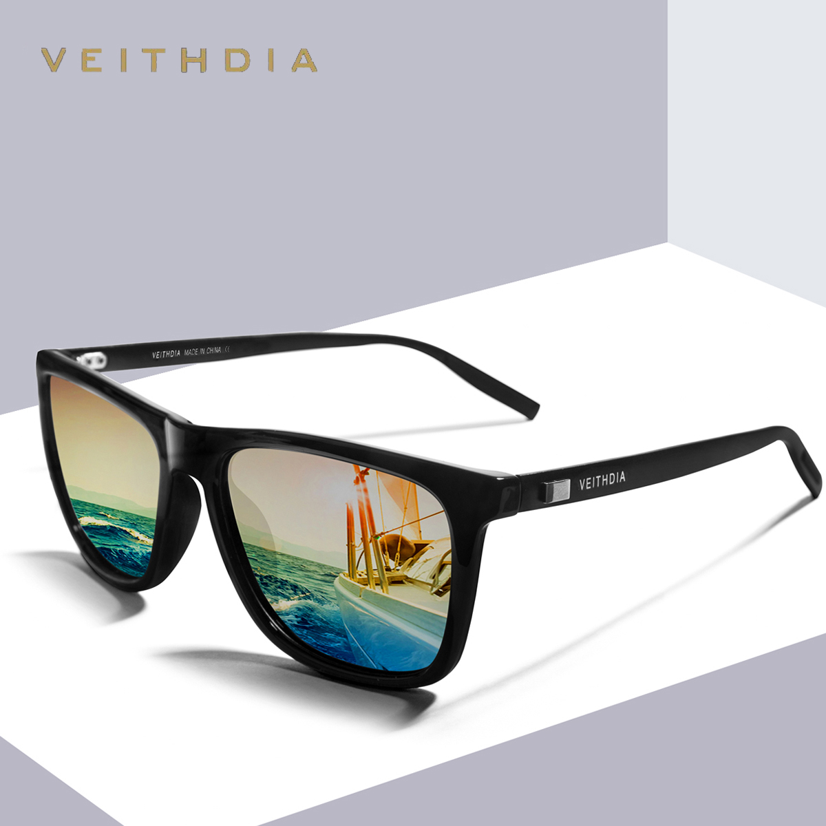 VEITHDIA ยี่ห้อ U Nisex R Etro อลูมิเนียม + TR90 แว่นกันแดดเลนส์โพลาไรซ์วินเทจอุปกรณ์แว่นตาอาทิตย์แว่นตาสำหรับผู้ชาย / ผู้หญิง 6108
