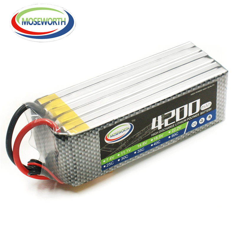MOSEWORTH RC lipo battery 6S 22.2v 4200mAh 30C For rc airplane helicopter quadcopter lithium batteria cell akku
