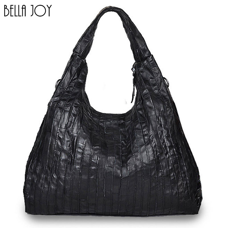 BELLA JOY Large Capacity Woman Bags Genuine Leather Handbags Pleated Design Popu