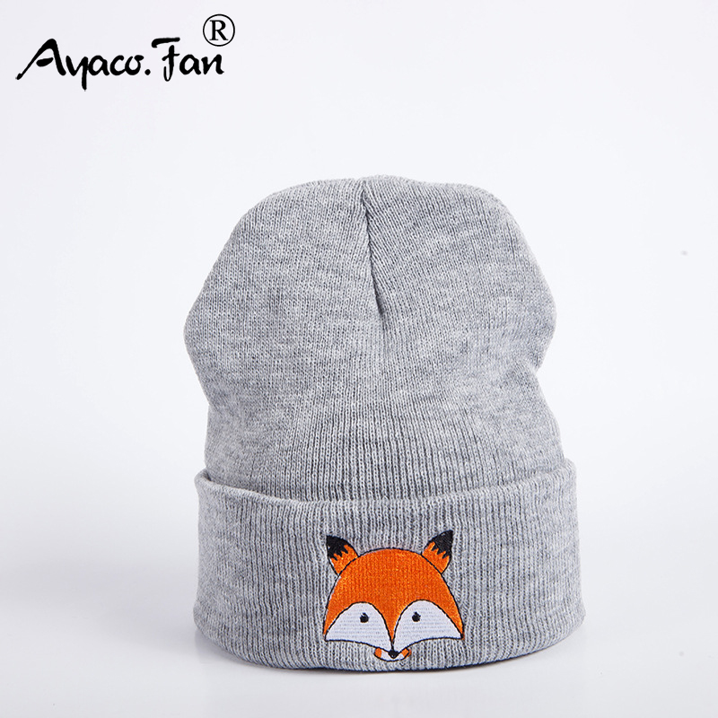 2019 New Knitted Winter Caps Women Men Soft Warm Beanie Knit Cap Crochet Elasticity Hats Skullies Female Ear Embroidery Fox Hat